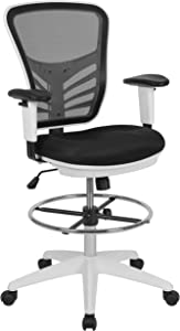 Flash Furniture Mid-Back Black Mesh Ergonomic Drafting Chair with Adjustable Chrome Foot Ring, Adjustable Arms and White Frame