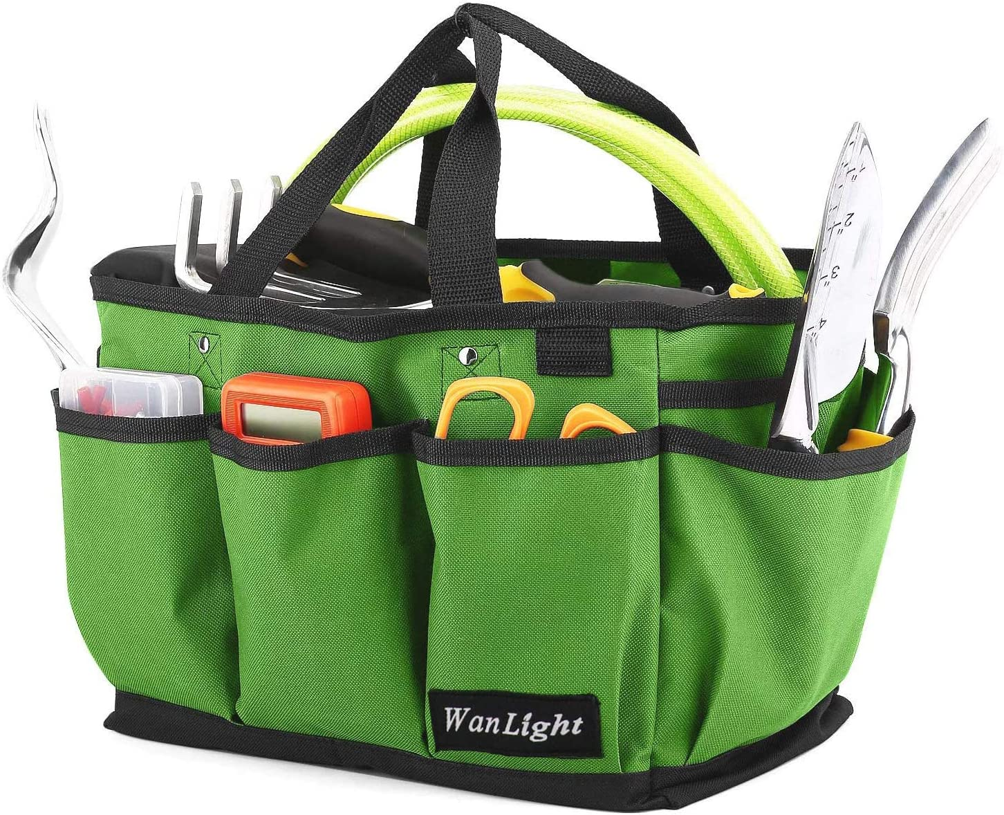 Garden Tote Large Organizer Bag Carrier Gardening Storage Tote Soft Handles Strap Garden Tool Storage Bag and Home Organizer with 13 Pockets, Wear-Resistant & Reusable, 15 Inch - Light Green