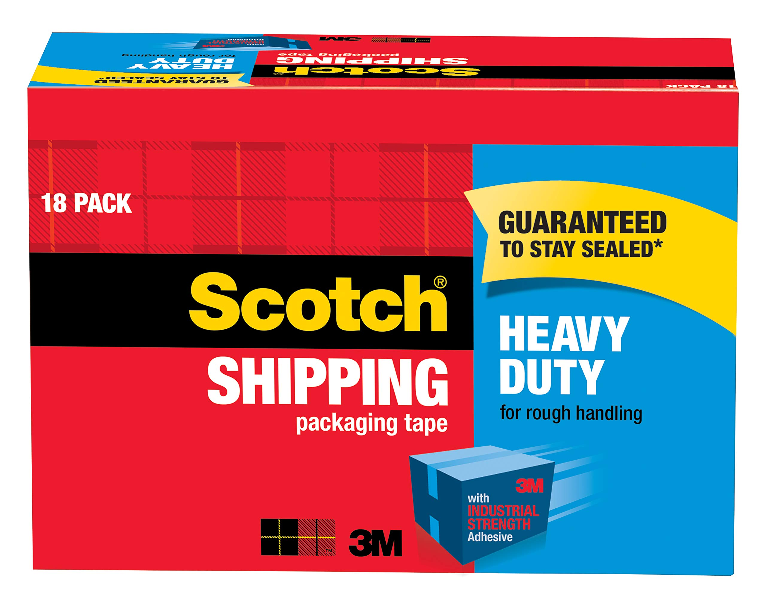 Scotch Heavy Duty Shipping Packaging Tape, 18-Roll Cabinet Pack, Great for Packing, Shipping & Moving, 1.88'' x 54.6 Yards, Clear, 3'' Core (3850-18CP) by Scotch Brand