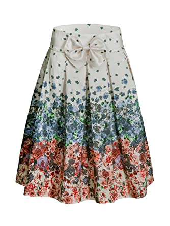 1f0f8f292ab CHOiES record your inspired fashion  Women s White Bow Front Floral Midi  Skirt S