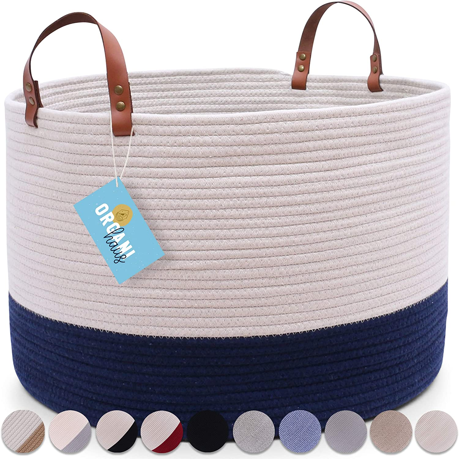 """OrganiHaus XXL Cotton Rope Basket with Real Leather Handles   Wide 20""""x13""""   Large Decorative Basket with Genuine Leather Handles   Nautical Basket for Living Room (Off White/Navy Blue)"""
