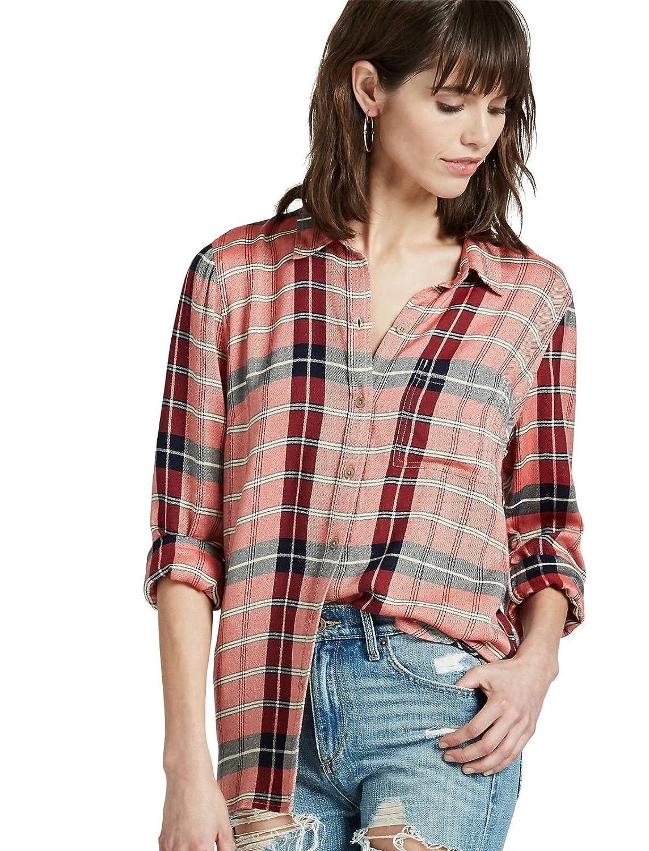 Lucky Brand Women's Boyfriend Fit Plaid Back Overlay Shirt