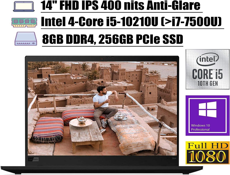 "2020 Latest Lenovo ThinkPad X1 Carbon Gen 7 Laptop 14"" FHD IPS Intel Quad-Core i5-10210U (Beats i7-7500U) 8GB DDR4 256GB PCIe SSD Backlit FP Thunderbolt Dolby WiFi Win 10 Pro + iCarp Wireless Mouse"