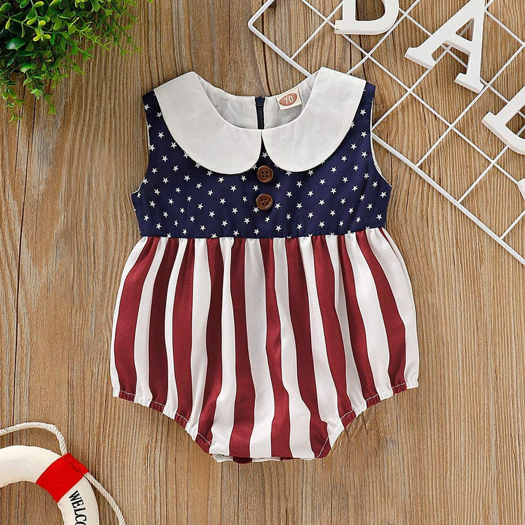 Woaills Kids Infant Baby Romper Bodysuit Independance Day Boys Girls Stars Striped Patriotic Bodysuit Clothes Mothers Gift