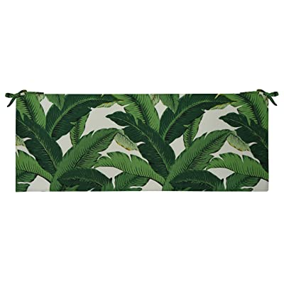 RSH Décor Decorative Indoor Outdoor 45W x 18D x 2.5H Foam Bench Cushion Pad with Ties ~ Choose Color Great for Porch Swing, Patio, Deck & Home Décor Made with Swaying Palm Aloe Green Tropical Leaf: Home & Kitchen