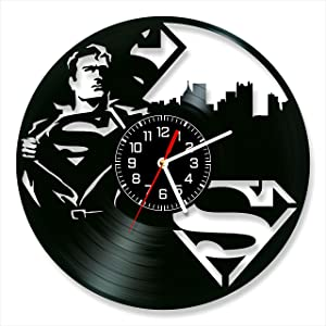 Superman Vinyl Clock, Wall Clock 12 inch (30 cm), Original Gifts for Fans, The Best Home Decorations, Unique Art Decor, Original Idea for Home Decor