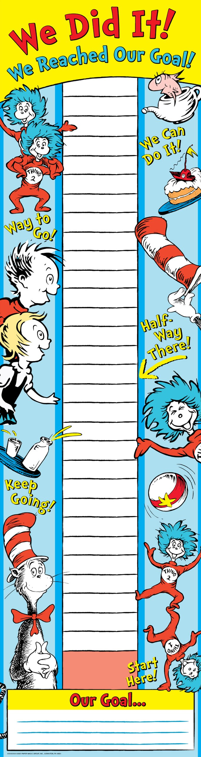 Eureka School 849583 Eureka Dr. Seuss Vertical Classroom Banner, Goal Setting, Measures 45 x 12''