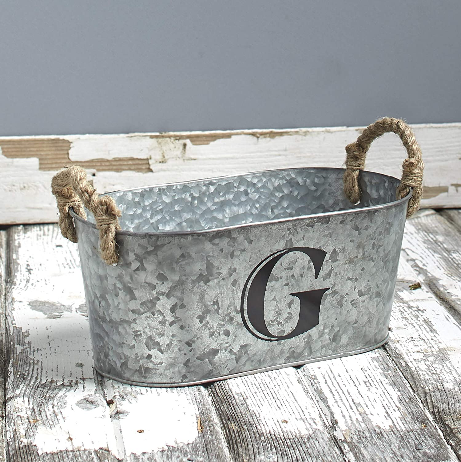 The Lakeside Collection Galvanized Metal Monogram Bucket - Rustic Storage Bin with Rope Handles - G