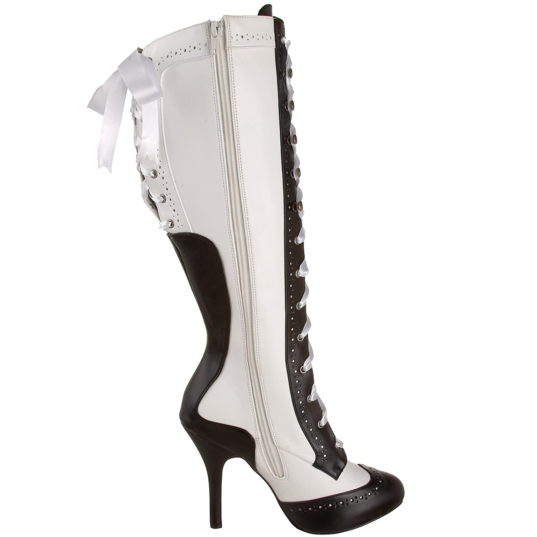 Pleaser Bordello by Women's Tempt-126 Lace-Up Boot B002LI5T8M 7 B(M) US|White/Black Synthetic