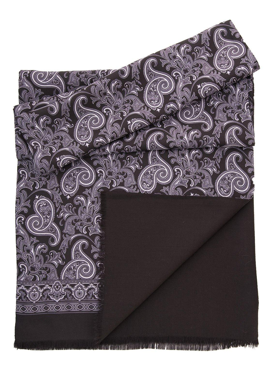 Elizabetta Men's Italian Patterned Silk Wool Lined Reversible Scarves (Siena Grey/Black)
