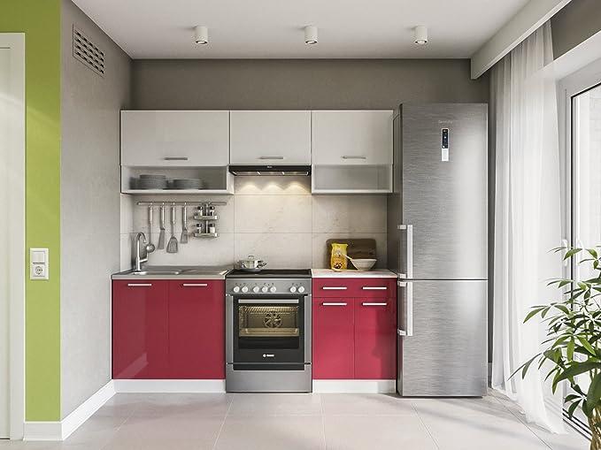 Eldorado möbel küche lux 200 cm rot küchenzeile küchenblock einbauküche komplettküche amazon de küche haushalt
