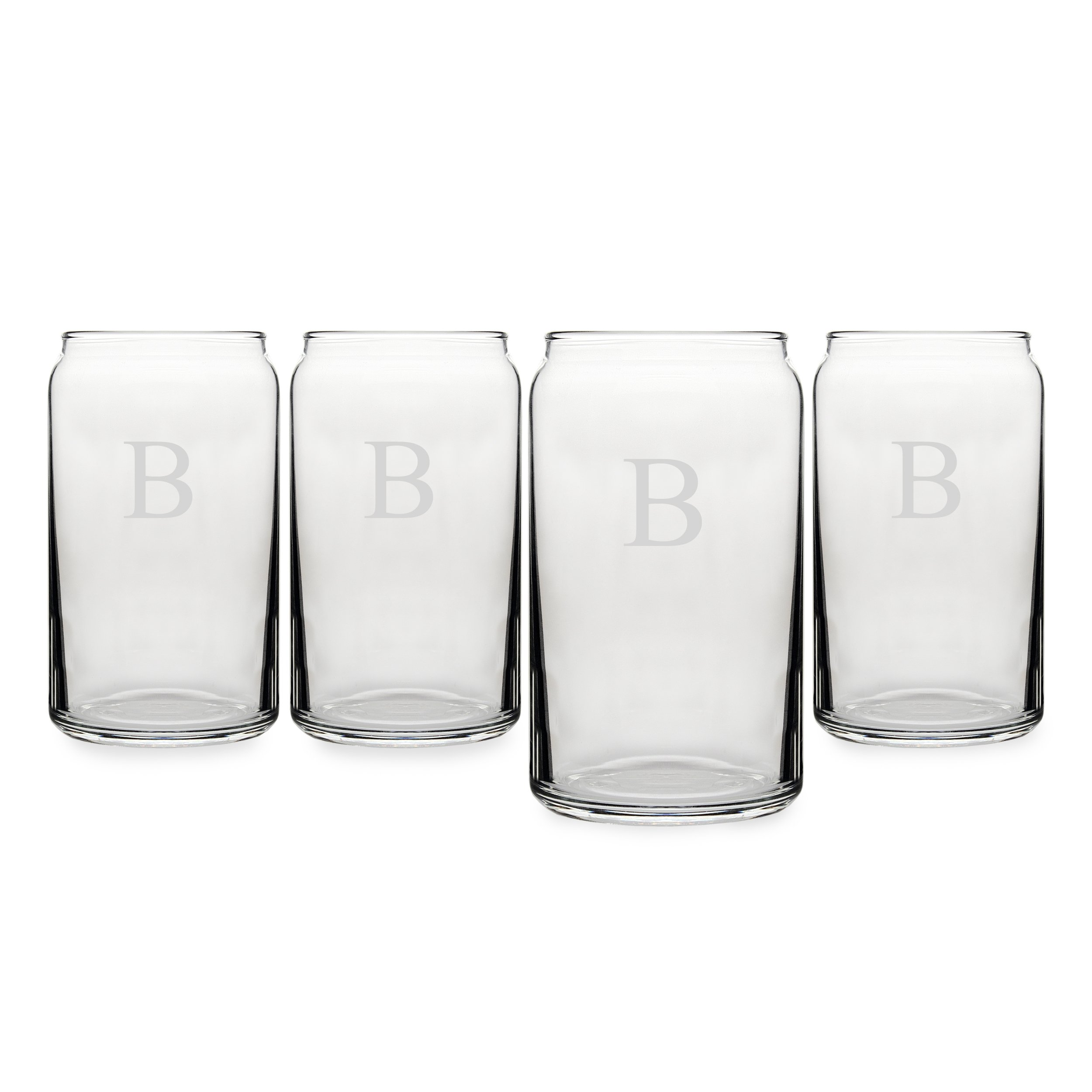 Cathy's Concepts Personalized Craft Beer Can Glasses, Set of 4, Letter B