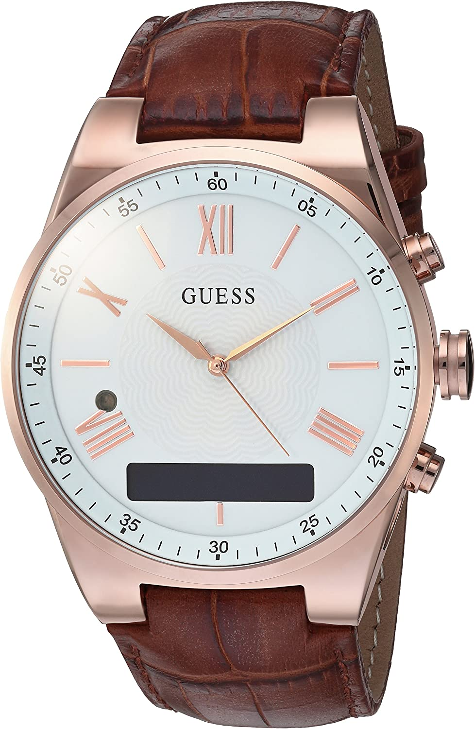 GUESS Men's Stainless Steel Connect Smart Watch - Amazon Alexa, iOS and Android Compatible, Color: Brown (Model: C0002MB4)