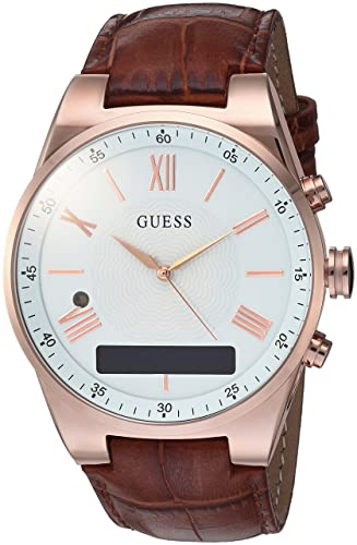 GUESS Mens Stainless Steel Connect Smart Watch - Amazon Alexa, iOS and Android Compatible, Color: Brown (Model: C0002MB4)