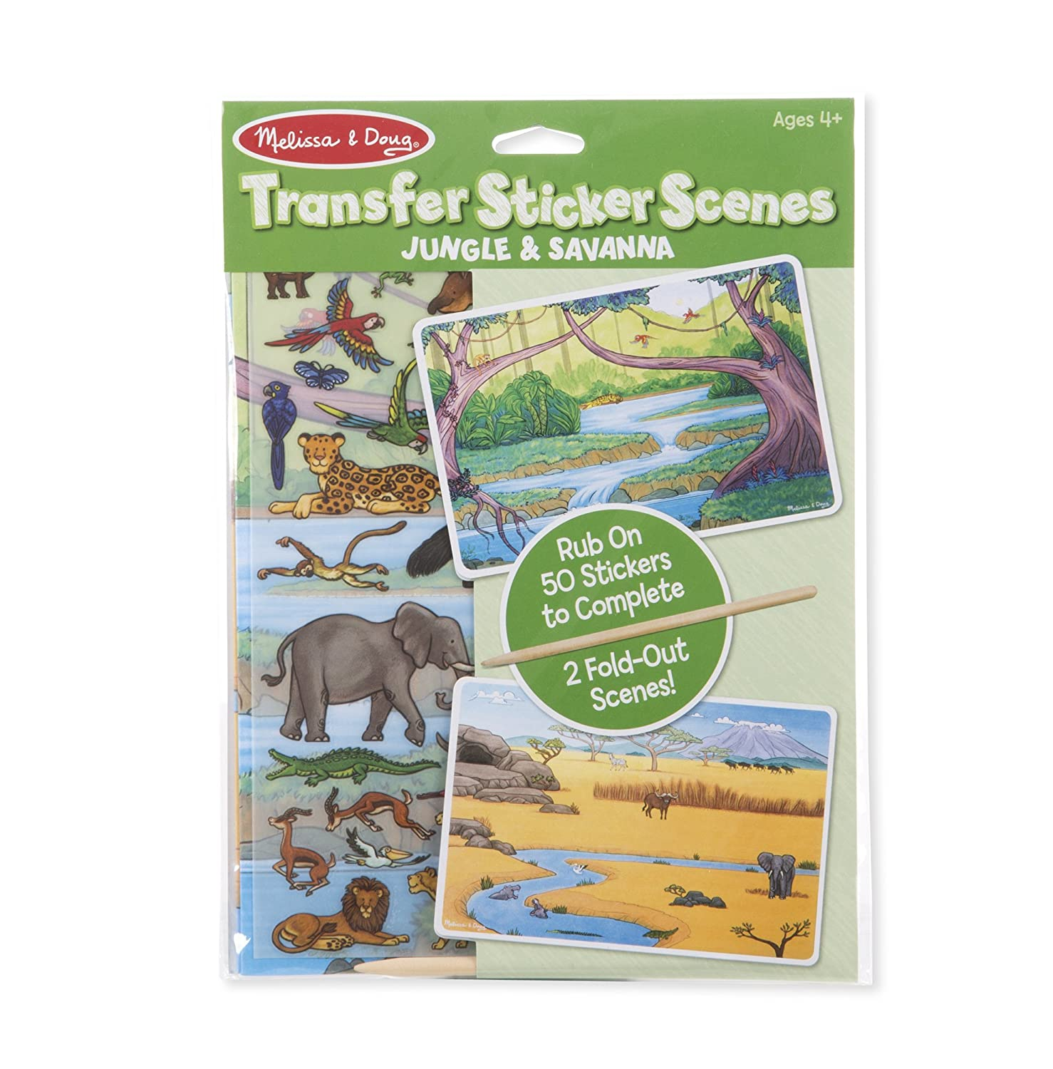 Melissa Doug Transfer Sticker Scenes Jungle and Savanna With 2 Scene Cards 40 Rub On Stickers