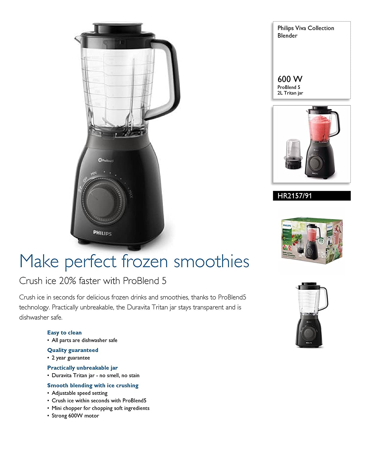 Philips Viva Collection HR2157/91 - Licuadora (2 L, Batidora de vaso, Negro, Transparente, 600 W, 600 W): Amazon.es: Hogar