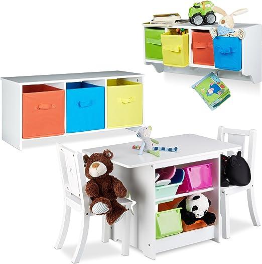 Relaxdays 3 Tlg Kindermöbel Set Albus Wandregal Für Kinder Sitzbank Mit Stauraum Kindersitzgruppe Mit 2 Stühlen Faltbox Weiß