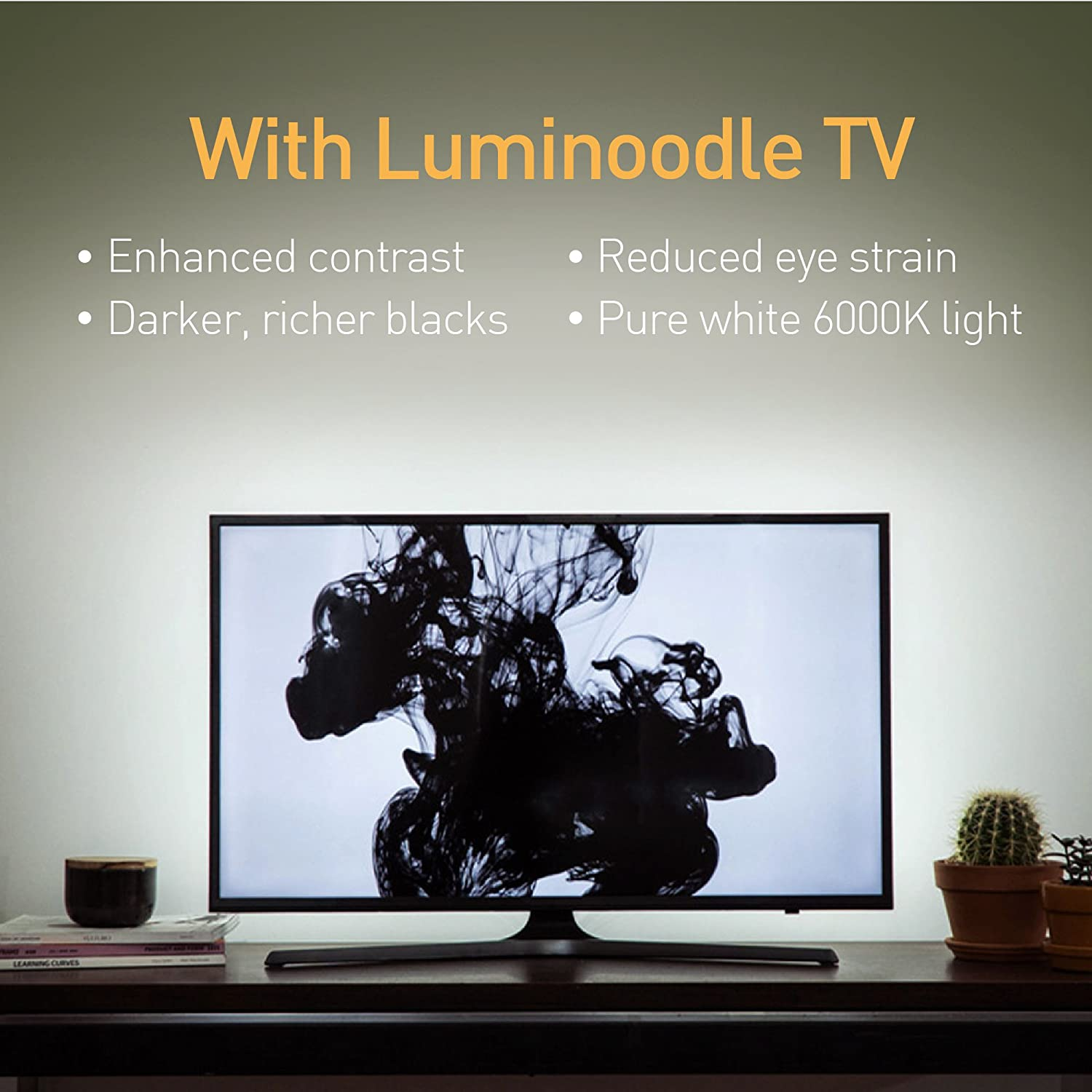 TV Accent Lighting to Reduce Eye Strain Power Practical Luminoodle USB Bias Lighting Ambient Home Theater Light LED TV Backlight Strip Improve Contrast 13 FT X-Large 4 Meter