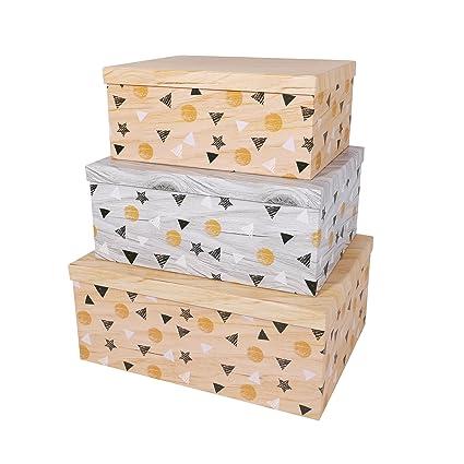 SLPR Decorative Storage Cardboard Boxes (Set Of 3, Floating Triangles) |  Nesting Gift