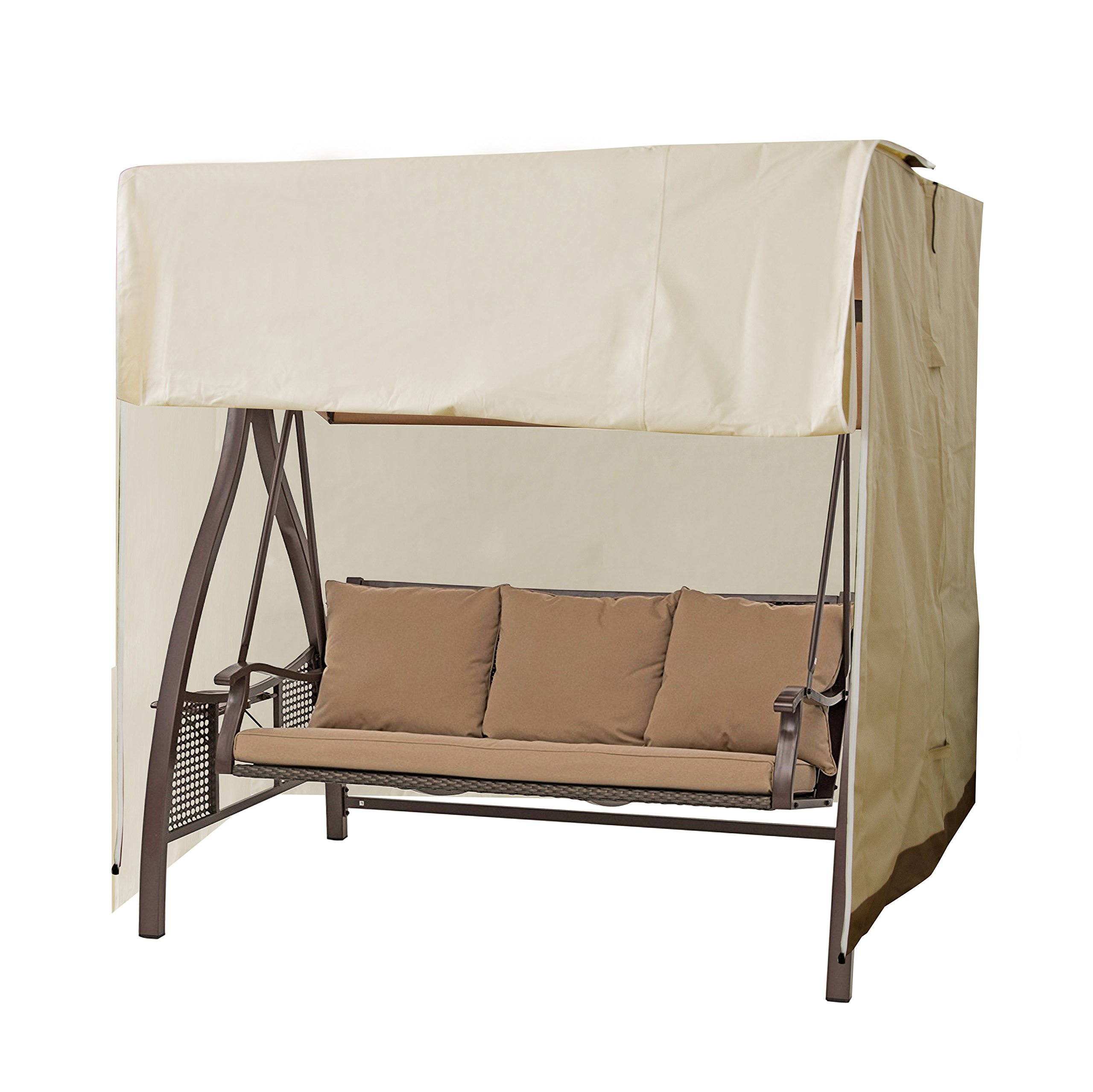APARESSE Outdoor 2-Seater Hammock Swing Glider Canopy Cover Beige, All Weather Protection, Water Resistant, 77'' L x 60'' W x 71'' H by APARESSE
