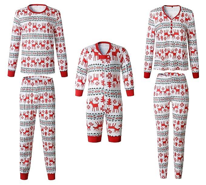 Pijamas Navidad Familia Conjunto Pantalon y Top Fiesta Manga Larga ...