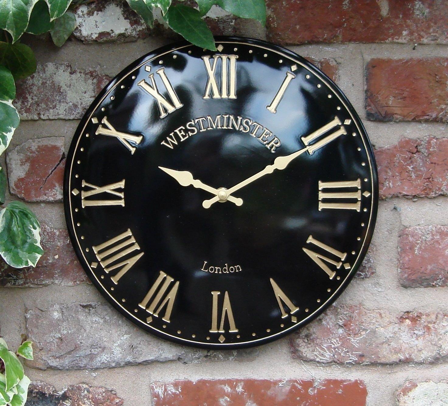 AISSION Wall Clock Außenbereich Garten Innen Schwarz Wanduhr Hand gemäßte Kirche, Römische 12 Zoll