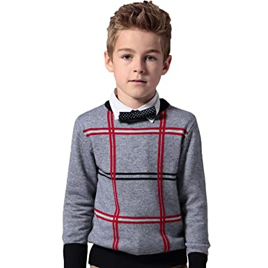 BYCR Boys Elastic Pullover Sweater Crew Neck Cotton Sweatshirt Casual Style