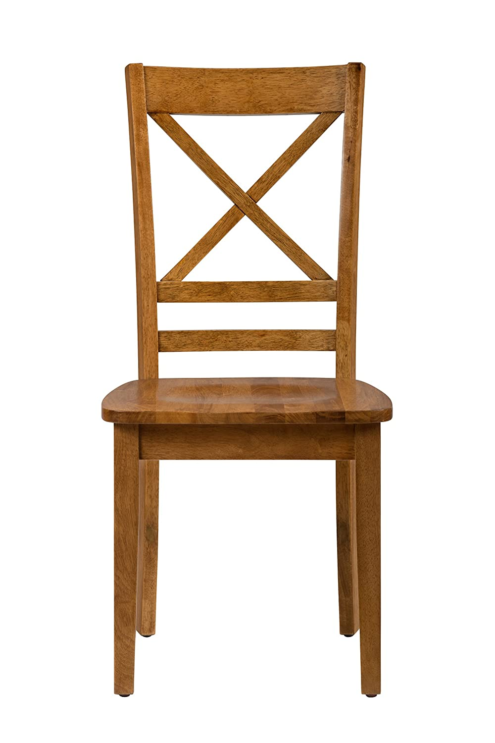 Brown Set of Two Benzara BM184058 Wooden X Style Back Chair with Straight Feet