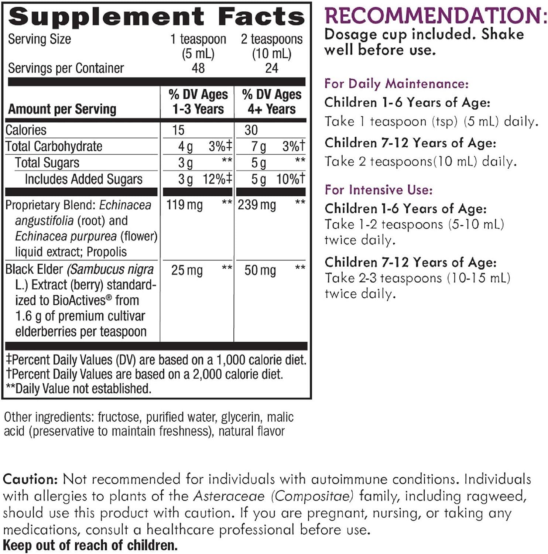 Nature's Way Sambucus Elderberry Syrup for Kids, Herbal Supplements, Gluten Free, Vegetarian, 8 oz: Health & Personal Care