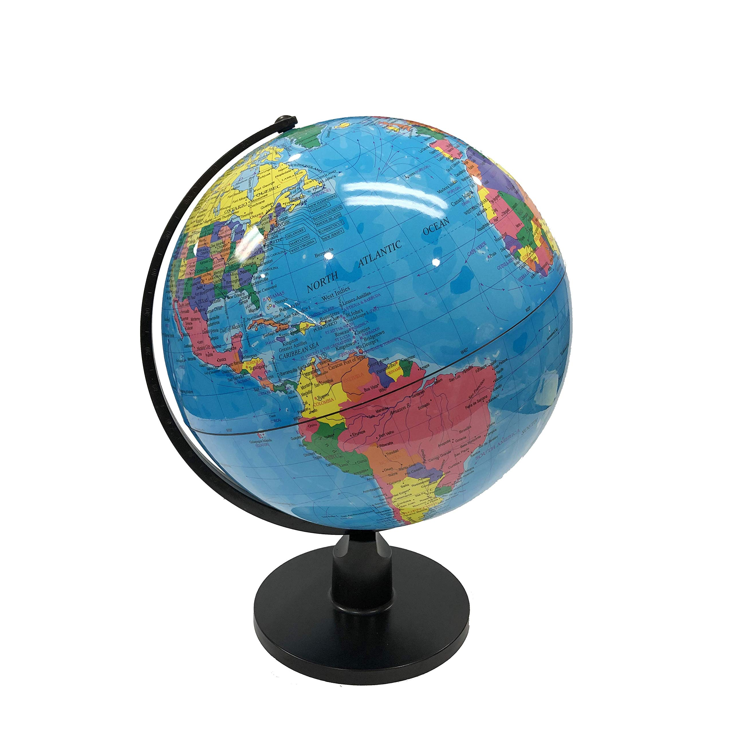 World Globe Great for Kids and Adults with Stand Desk 8 Inch Globe 12 Inch Educational Deluxe Blue Ocean Black Base Full Earth Geography ... (Blue Ocean, 12 Inch Diameter)