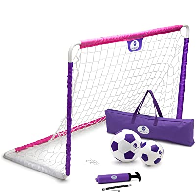 Morvat Soccer Goal Set for Backyard, Kids Outdoor Toys, Outside Toys Soccer Goals for Kids, Girls Soccer Accessories, Toddler Soccer Goals for Backyard, Soccer Ball, Junior Ball, Pink and Purple: Toys & Games