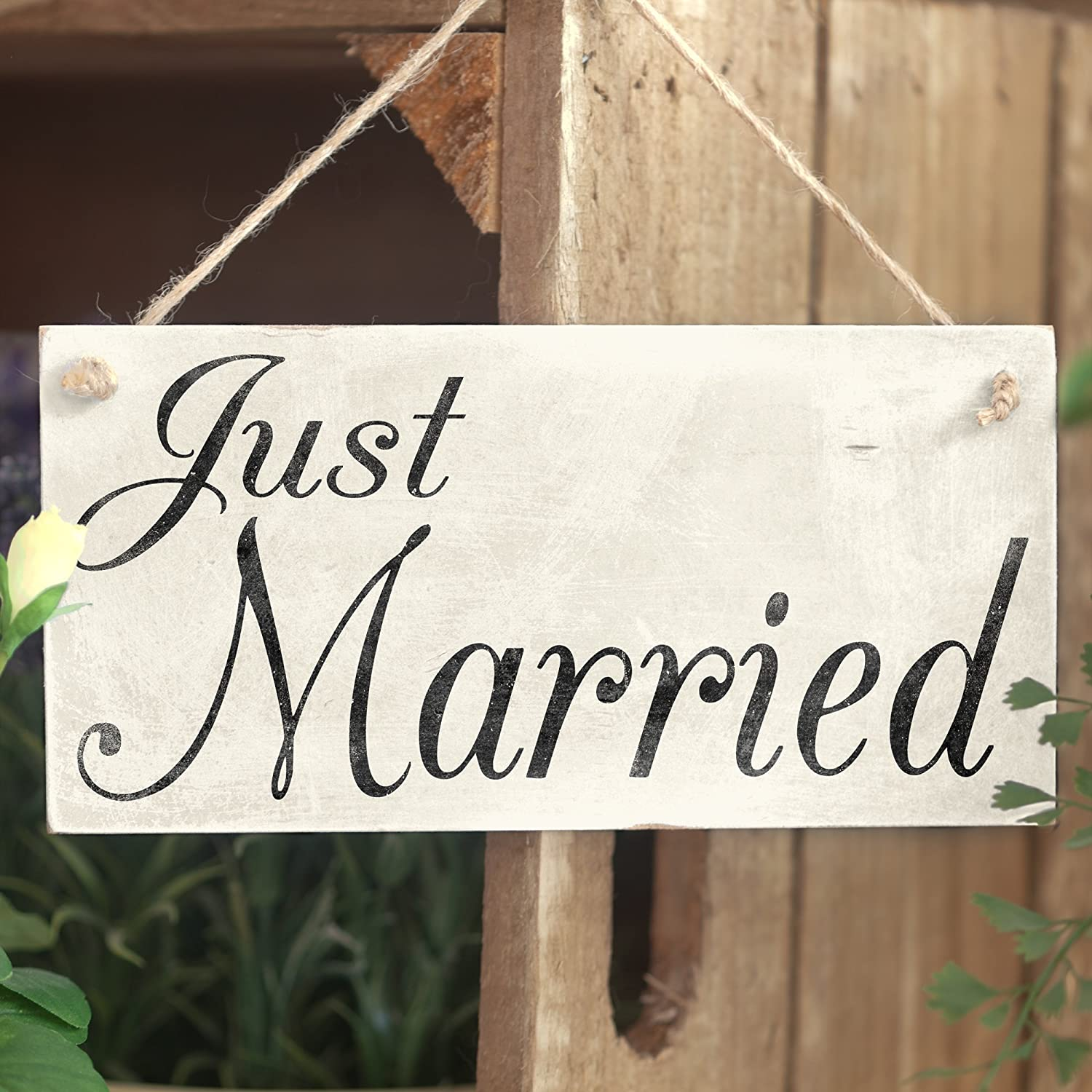 Amazon.com: Just Married – cartel/accesorio de boda regalo ...