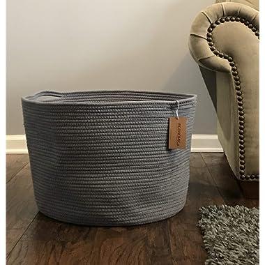 Rope Storage Basket 23.6 x13.8 x17.7  Extra Large Laundry hampers Baskets Blanket Storage Blankets Hamper (Grey)