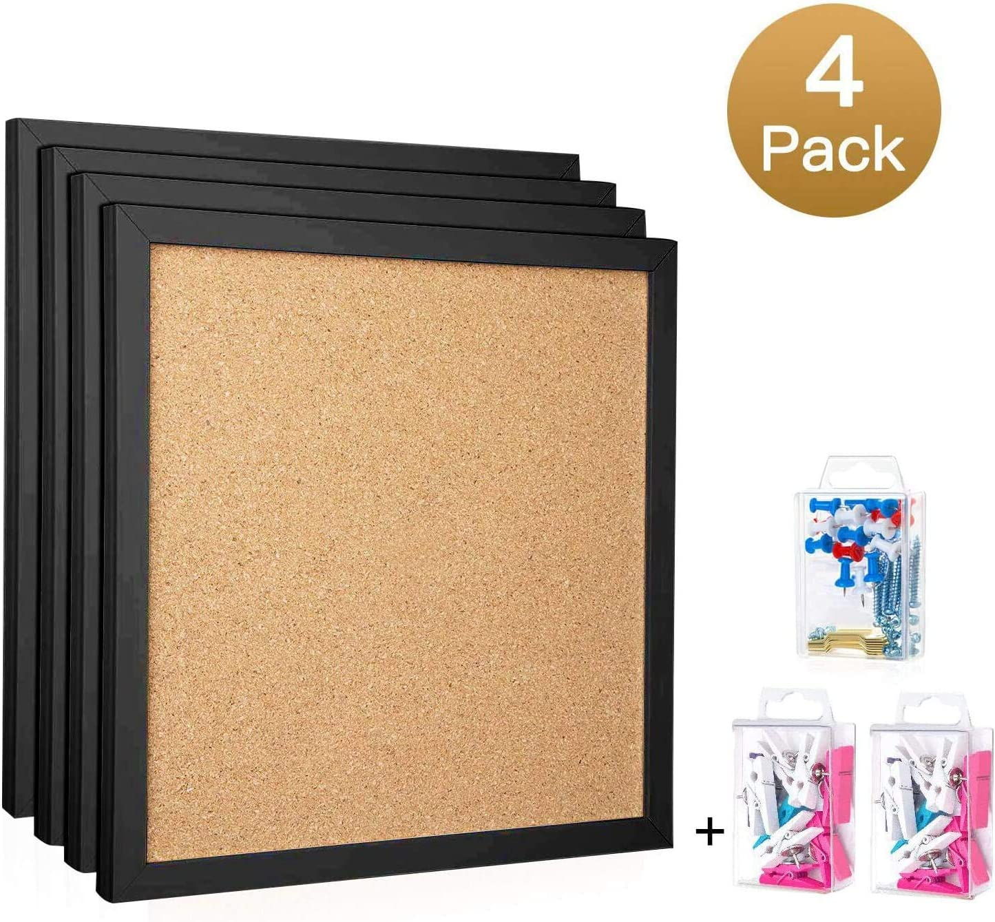 "HBlife Cork Board Bulletin Board 12""X 12"" Square Wall Tiles,Modern Black Framed Corkboard for School, Home & Office (Set Including 20 Push Pins,Hardware and Template)"