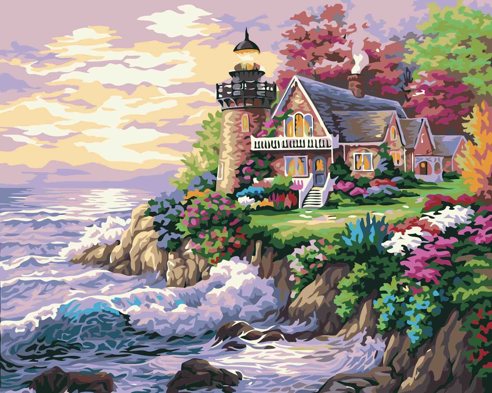 LIUDAO Oil Painting Paint By Number Kits Paintworks for Kids and Adults Without Frame 16x20inch (Beach Villa)