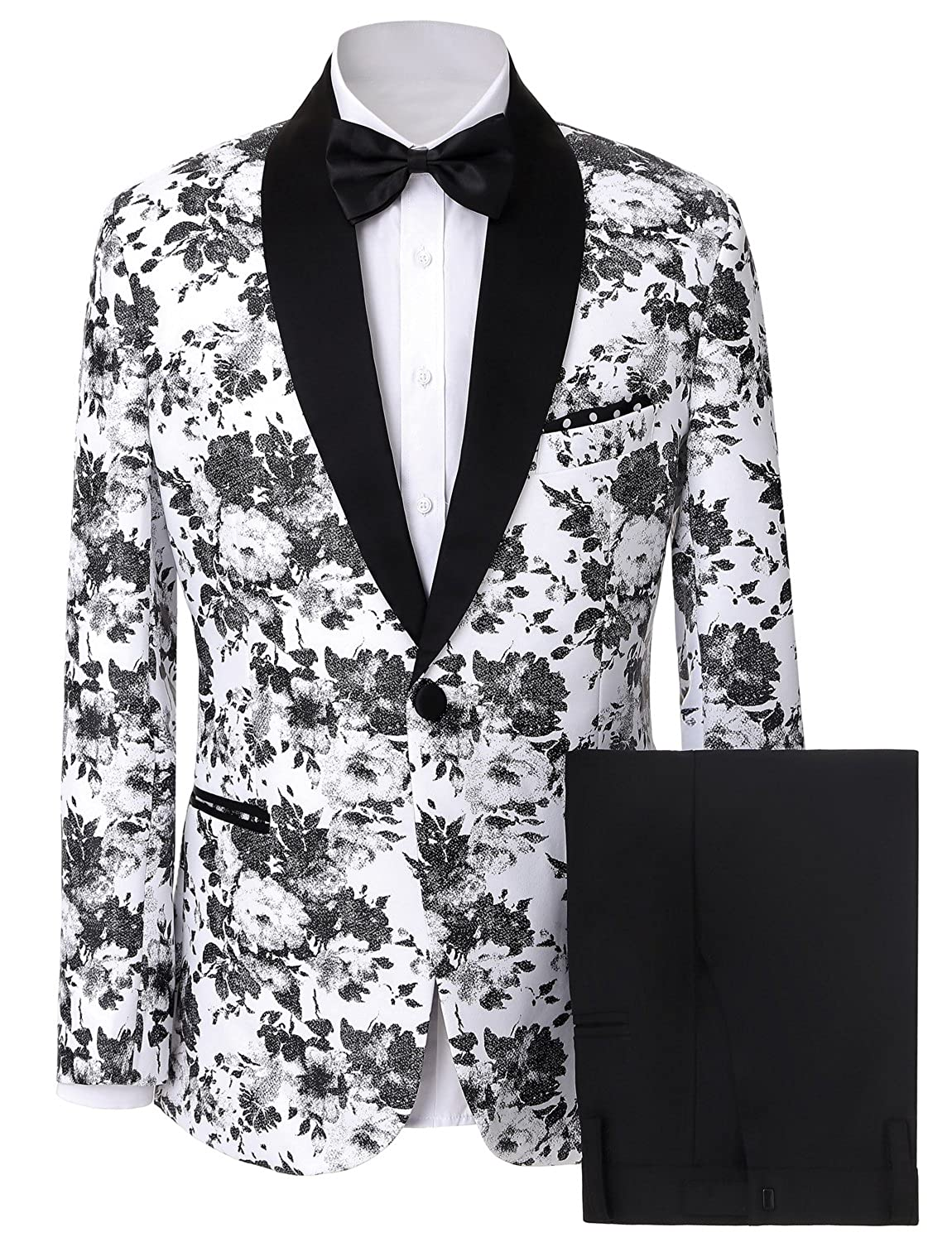 Lilis® Men's Fashion Dress Floral Suit Shawl Lapel Slim Fit Stylish Blazer & Pants