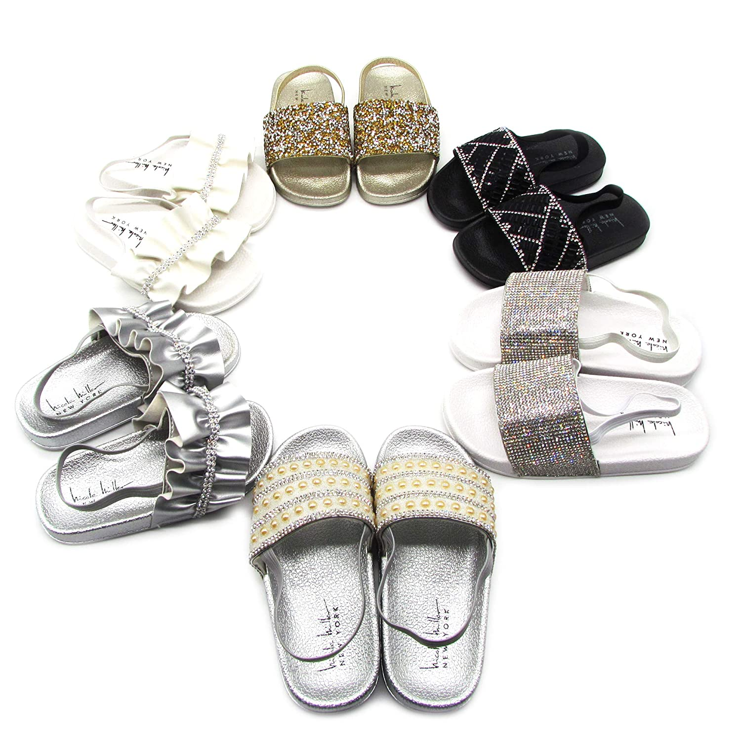 Toddler Nicole Miller New York Toddler Girls Jeweled Slide Sandal