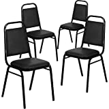 Black Vinyl//Black Frame NCFDSC2BLBLV Pack of 3 Norwood Commercial Furniture 250 Series Stack Chairs