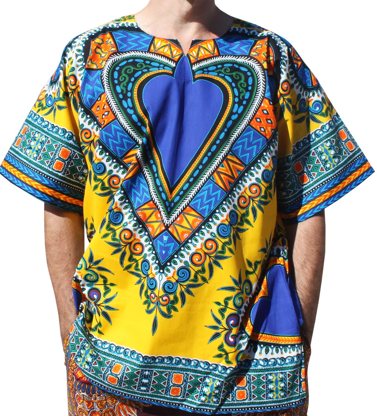 RaanPahMuang Bright Heart Cotton Africa Dashiki Plus Sized Shirt Plain Front, XXXX-Large, Yellow by RaanPahMuang