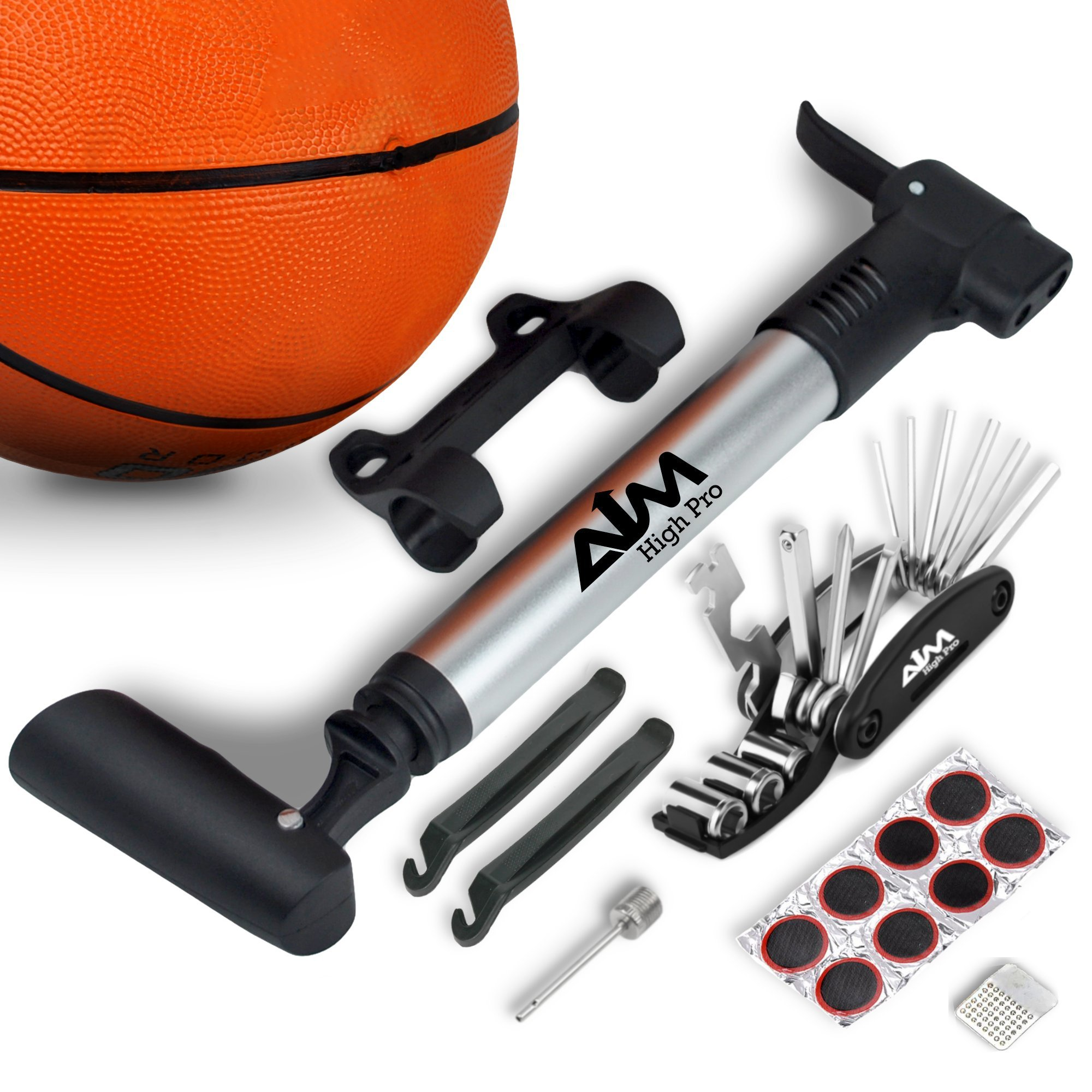 Aim High Pro. Portable Frame Mount Mini Bike Pump fits Presta & Schrader - Bicycle Repair Kit - Multi Tool - Tire levers - Ball Needle
