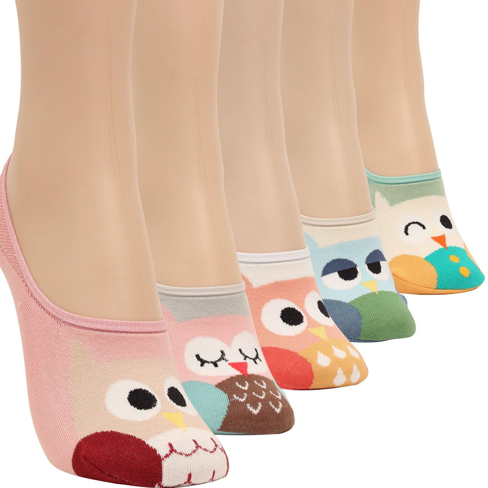 WOWFOOT Women Animal Design No-Show Casual Liner Socks Character Print Non Slip Flat Boat 4 Pair (5pair-owl)