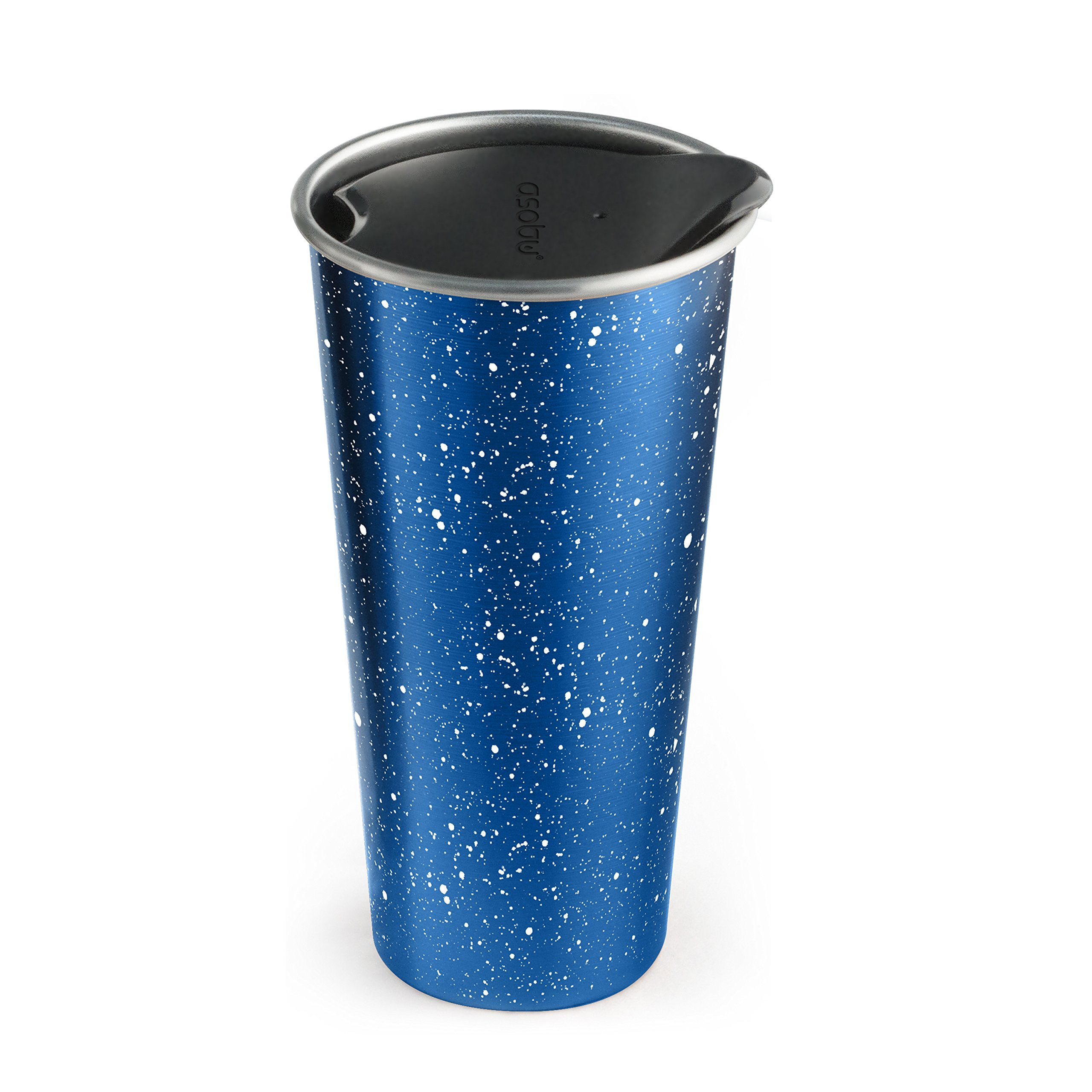 The Asobu Café Latte Stainless Steel Coffee Take to Go Tumbler 16 ounce (Speckled Blue)