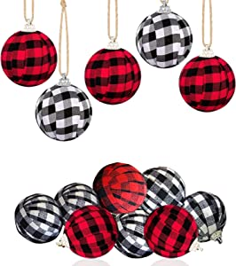 Buffalo Plaid Decor Ball Christmas Wishes Tree Ornament Ball Christmas Hanging Ornaments for Christmas Tree 9Pcs , (5 red&Black, 4 White&Black)