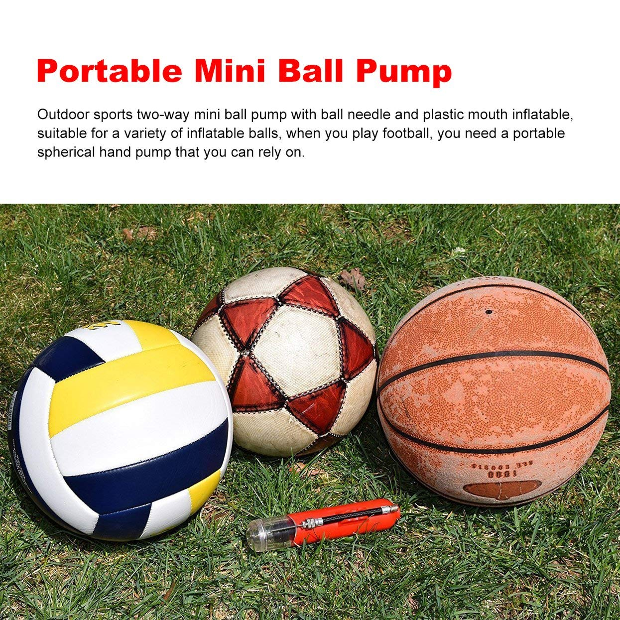 Tree-on-Life Portable Mini Plastic 6-in Ball Tire Inflator Outdoor Sports Hand Air Pump Football Soccer Basketball With 3PCS Extra Needles