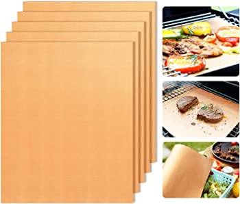 Copper Grill Mats Non-Stick BBQ Grill Mat Bake Mat Set of 5 Barbecue Grilling & Baking
