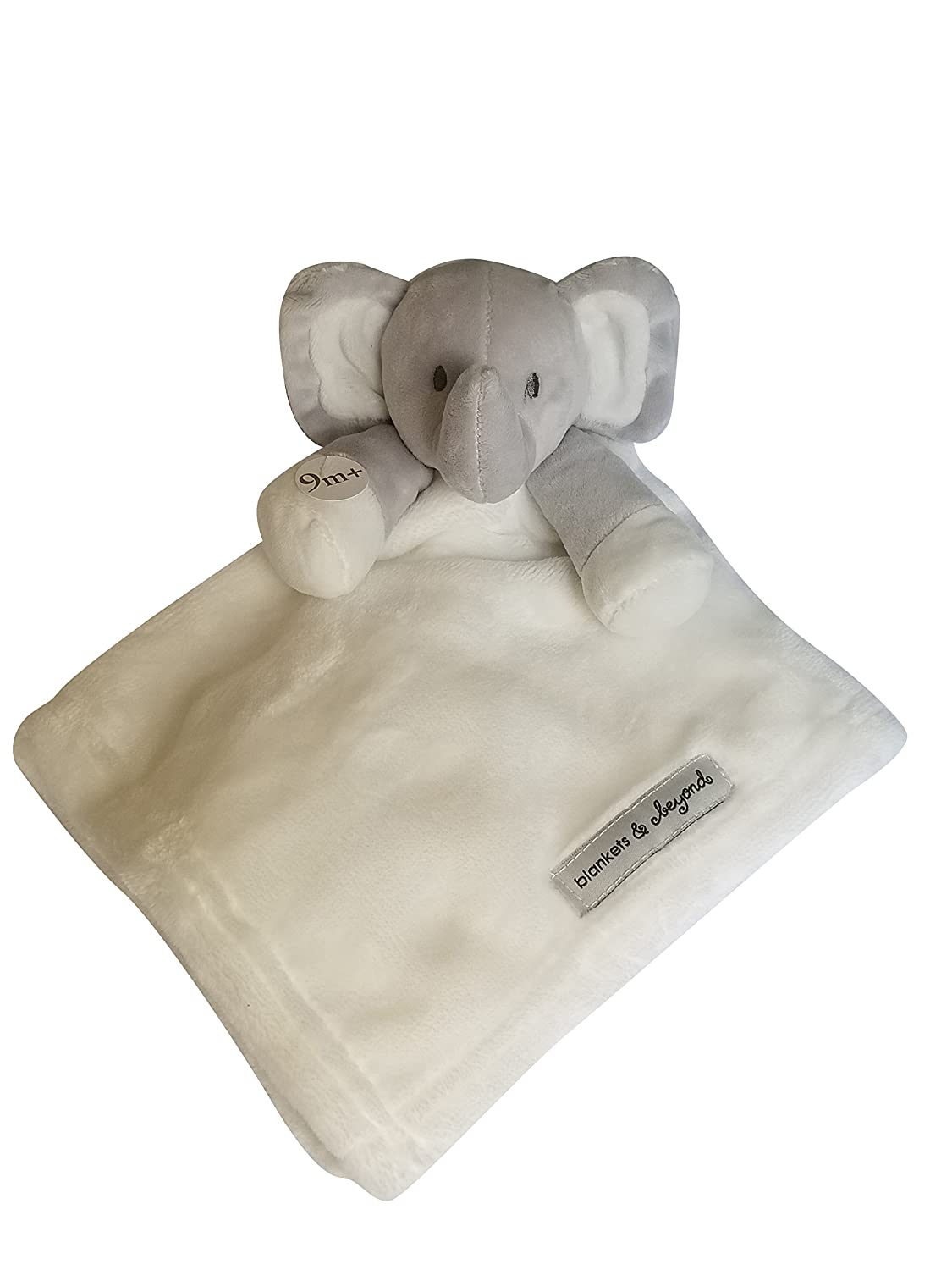 Blankets and Beyond Grey and White Elephant with White Security Blanket Lovey