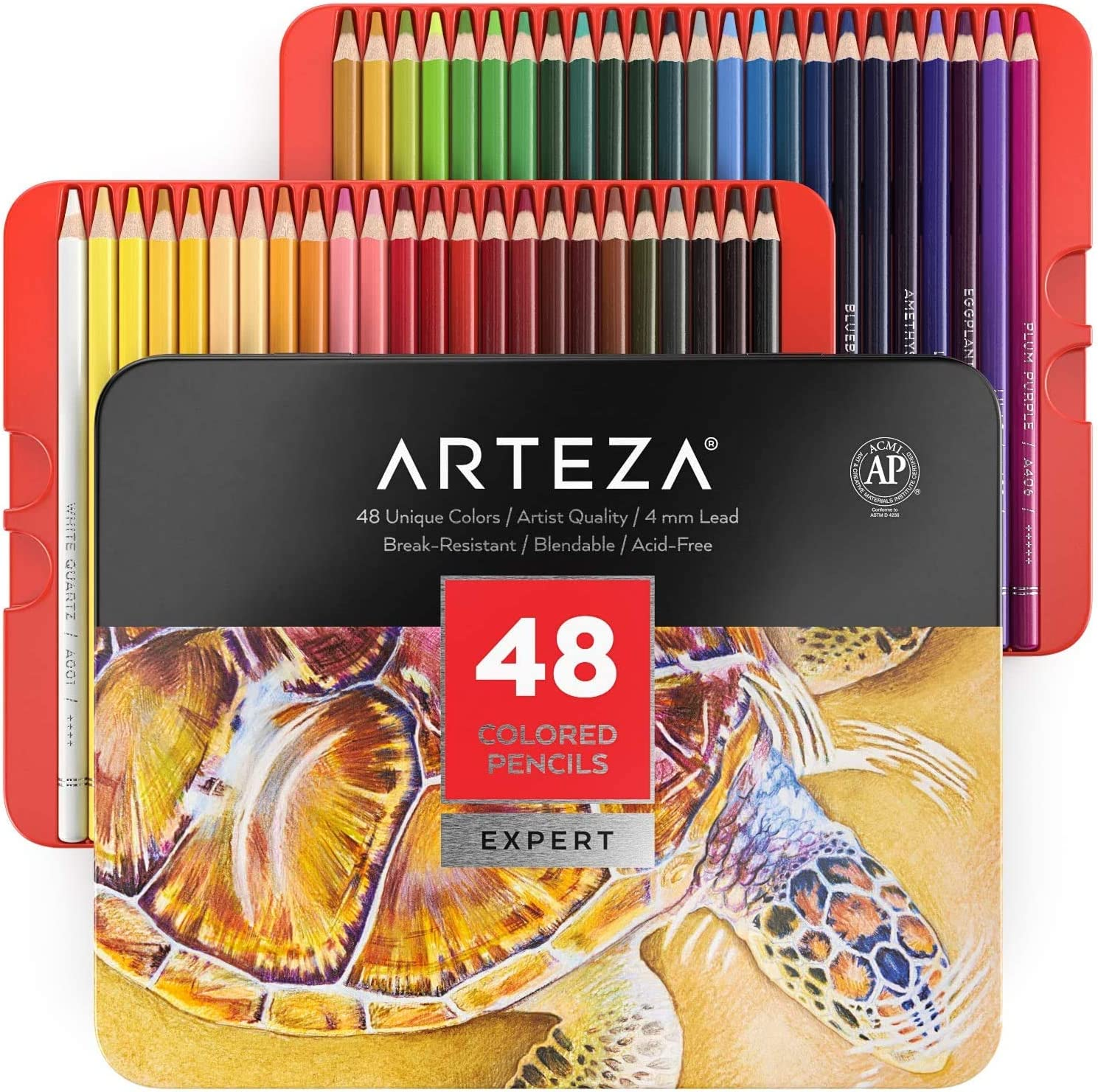 Arteza Colouring Pencils, Professional Set of 48 Colours in a Tin Box, Soft Wax-Based Cores, for Drawing, Sketching, Shading & Coloring, Vibrant Coloured Pencils for Adults & Pro Artists