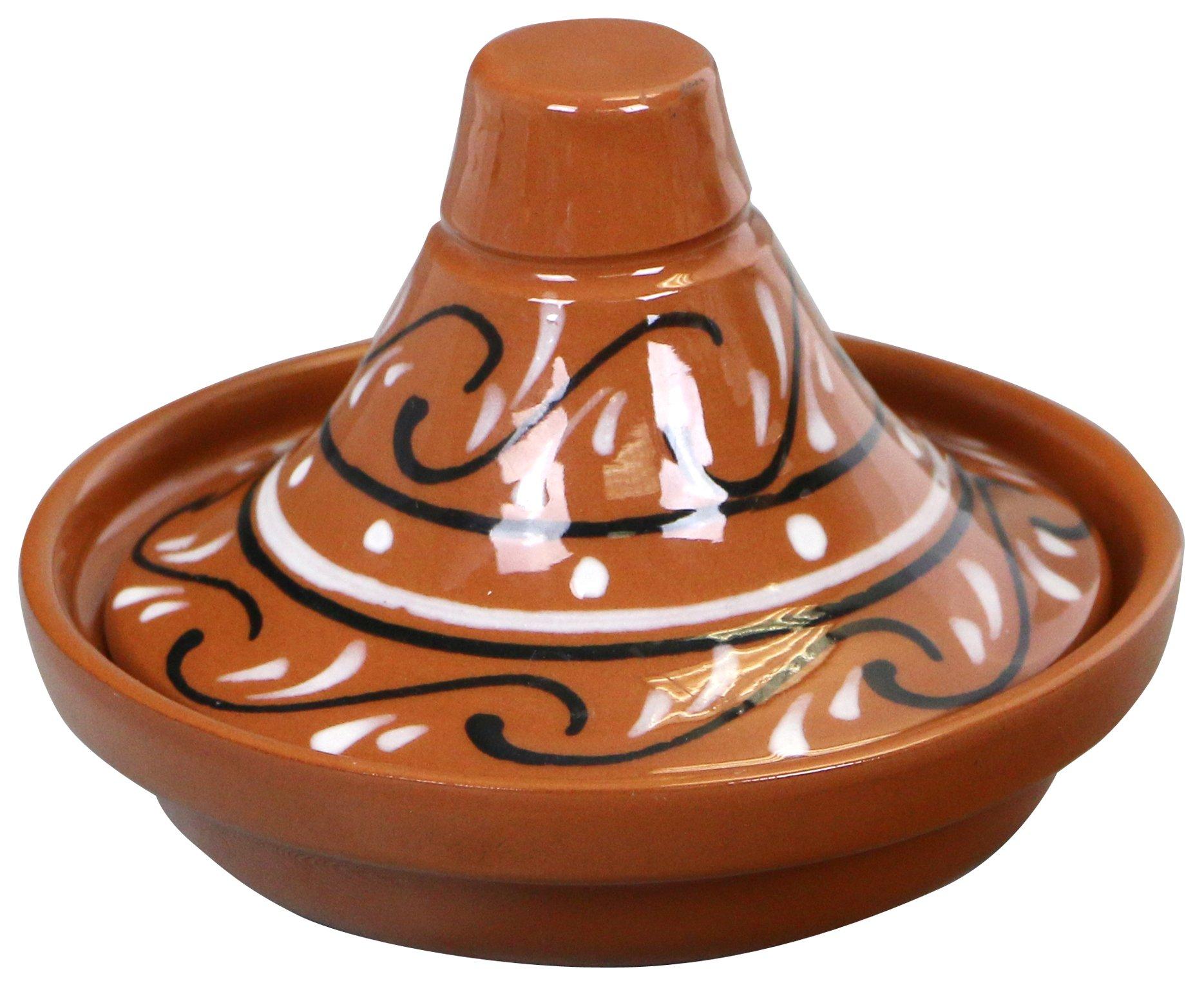 Reston Lloyd Hand Painted Nautral Terra Cotta Mini Tagine, Sauce/Side Dish, Marbela Pattern, Set of 2