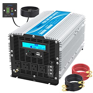 Pure Sine Wave Power Inverter 3000Watt DC 12 Volt to 120Volt with LCD Display
