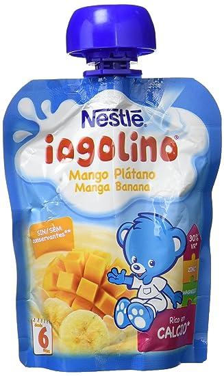Nestlé iogolino - Bolsitas de Mango y Plátano - Pack de 8 x 90 g